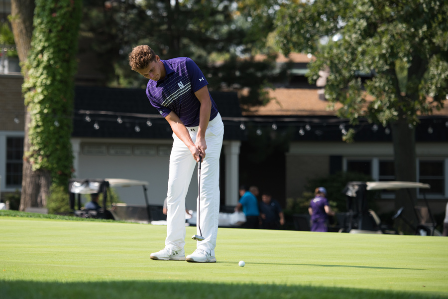 Ryan Lumsden hits a putt. The junior tied for fifth place at the Boilermaker Invitational this weekend.