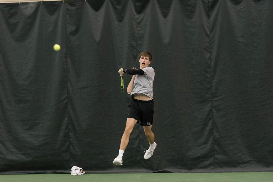 Ben Vandixhorn hits a forehand. The sophomore will look to collect another win this weekend in NU's final home matches against Minnesota and Wisconsin.