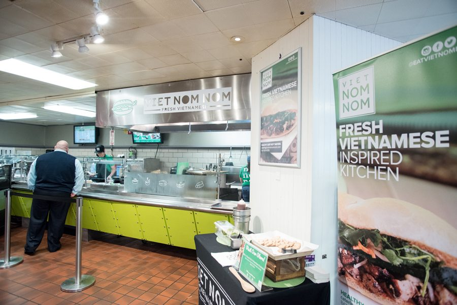 """Viet Nom Nom in Norris University Center. The Norris kiosk, which opened Monday, will serve pho, banh mi sandwiches and """"grab and go"""" food."""