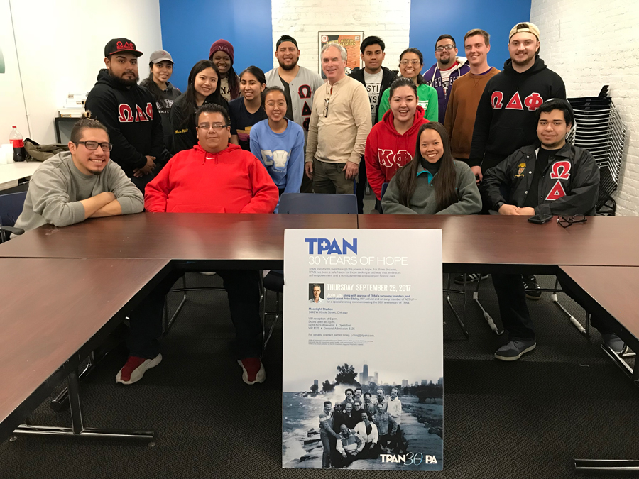 Volunteers at Test Positive Aware Network, a Chicago health clinic. Omega Delta Phi hosted a day of service honoring the legacy of Mexican-American activist César Chávez.
