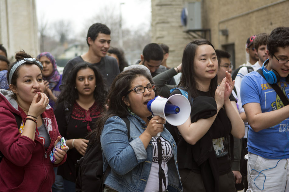 Students gather before marching to Sodexo administrative offices in solidarity with NU's food service workers in November 2015. Students have again organized in support of food service workers as the University prepares for a transition to Compass Group North America.