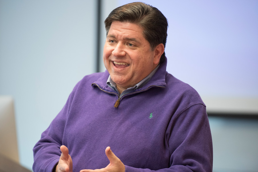 J.B. Pritzker speaks at an event. The Democratic candidate for governor donated $7 million to his campaign on March 27.