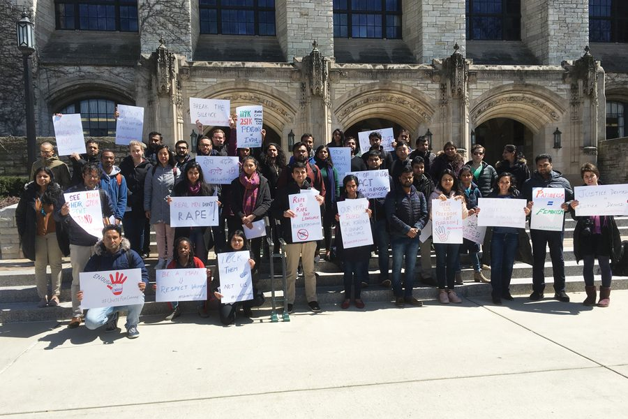 Kellogg+student+demonstrators+stand+in+front+of+Deering+Library.+The+demonstrators+marched+to+protest+sexual+violence+in+India+amid+public+outcry+over+government+policies+regarding+sexual+assault.