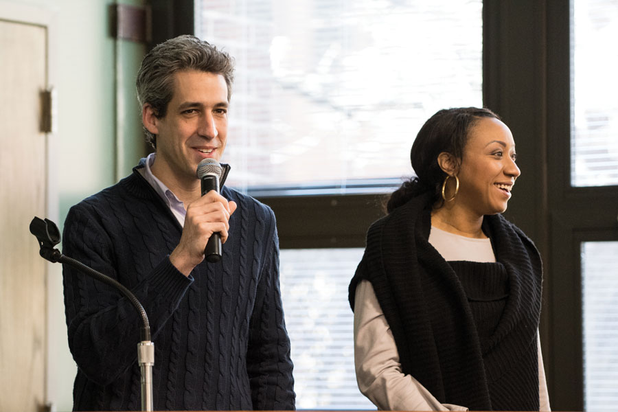 Former gubernatorial candidate state Sen. Daniel Biss (D-Evanston) and his former running mate state, Rep. Litesa Wallace (D-Rockford), speak at Evanston Township High School. They were two of many local officials who discussed the need for campaign finance reform on Saturday.
