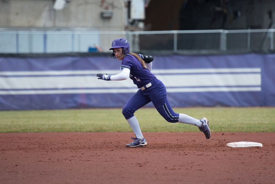 Marissa Panko dances off second base. The senior shortstop had five hits over the weekend.