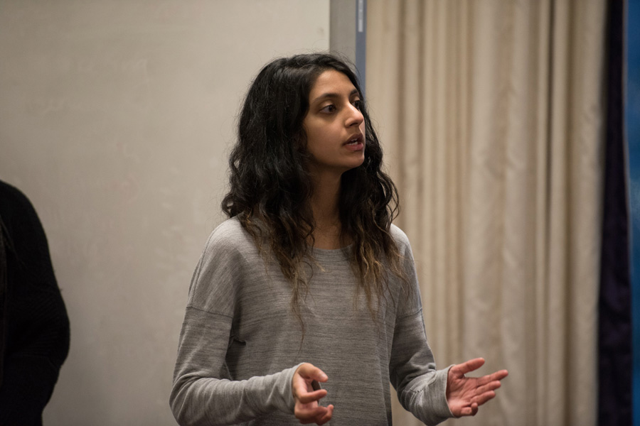 ASG president Nehaarika Mulukutla speaks during an ASG Senate meeting. Mulukutla presented reforms to ASG's funding process for student groups, which were unanimously passed by Senate.