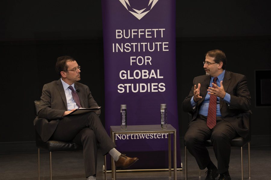 Daniel+Shapiro+and+Brian+Edwards+speak+at+a+Buffett+Institute+event+on+Thursday.+The+former+U.S.+ambassador+to+Israel+discussed+his+views+on+the+Israeli-Palestinian+conflict+and+the+role+of+social+media+in+politics.