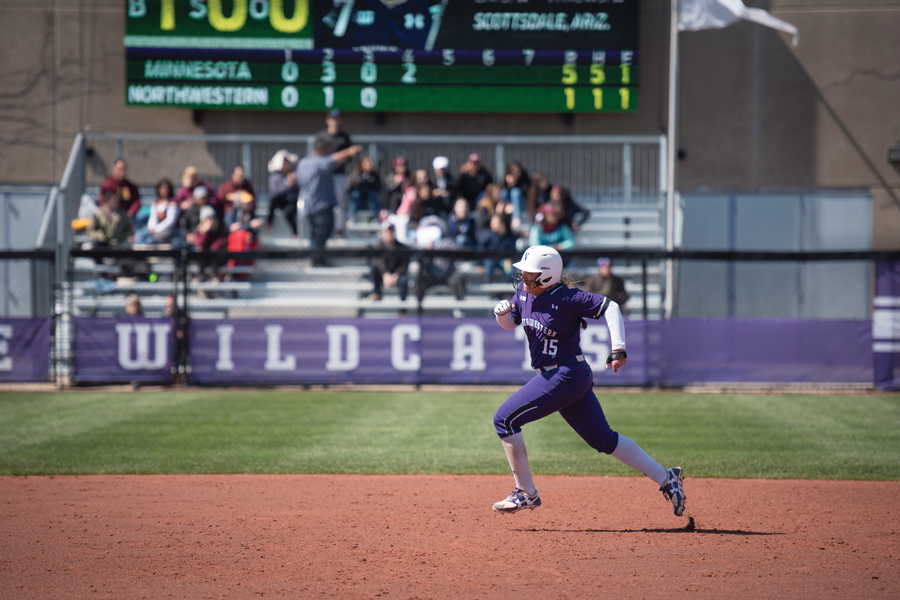 Sammy Nettling runs to third base. The senior catcher had one hit and 2 RBIs in NU's 8-3 win over Notre Dame Wednesday.