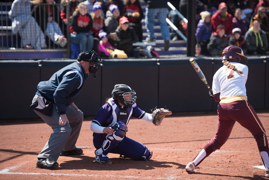 Sammy Nettling prepares to catch a pitch. Nettling has excelled at both catching and batting this season, recording hits in 11 of Northwestern's last 13 games.