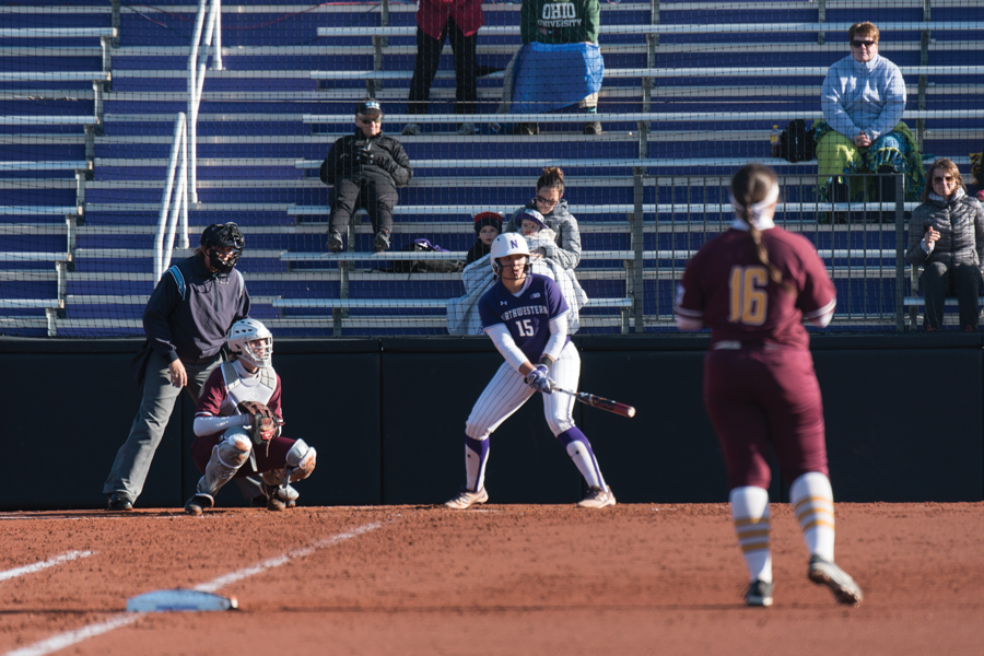 Sammy Nettling prepares for her at-bat. The senior catcher will play her final home series this weekend against Iowa.