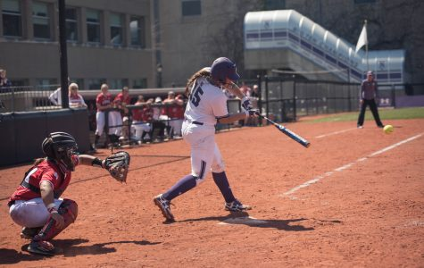 Sammy Nettling takes a swing. The senior catcher has been red hot at the plate in recent weeks.