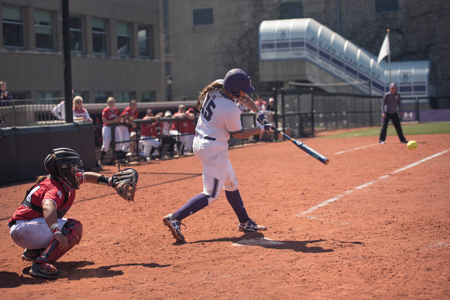 Sammy Nettling blasts a line drive. The senior catcher moved up to fourth in Northwestern's batting order Sunday, helping ignite a 17-run win.