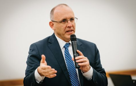 Mayor Steve Hagerty speaks at a town hall meeting Tuesday. Community members raised concerns over a lack of transparency from City Council to citizens.