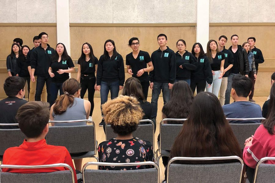 Northwestern's Treblemakers perform for the Young People's Teen Musical Theatre Company in San Francisco. The Treblemakers spent eight days traveling in California for their spring tour.