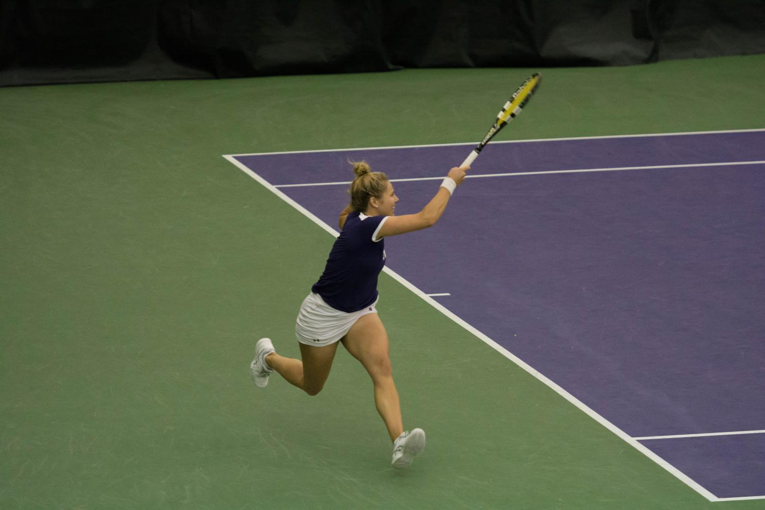 Alex Chatt strikes a forehand. The junior and Northwestern capped a perfect conference season with this weekend's wins.