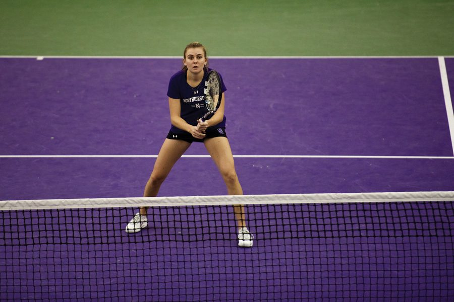 Senior Erin Larner prepares to receive a serve. Larner's Wildcats will face a difficult pair of opponents this weekend.