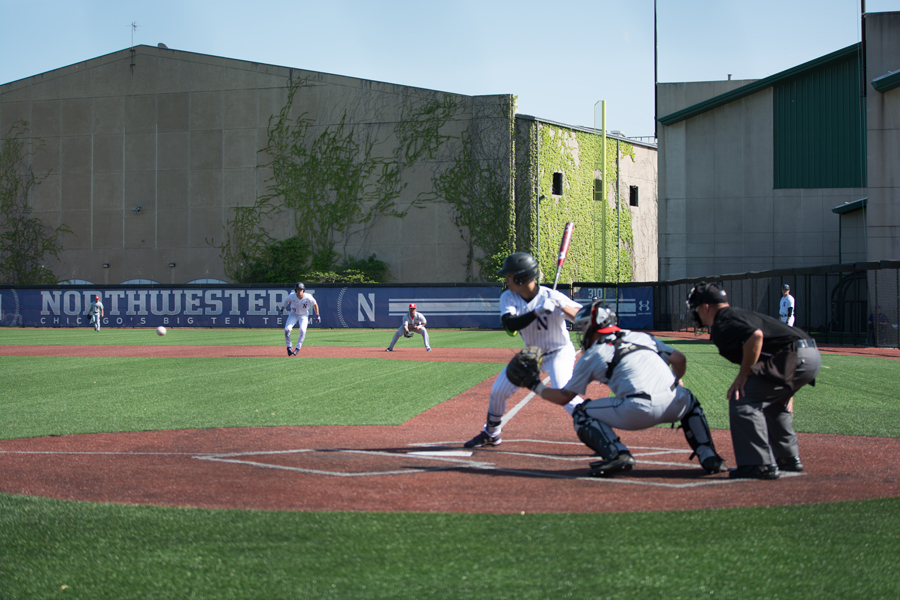 Alex Erro takes a pitch. Erro's 14-game hitting streak was snapped Saturday against Michigan.