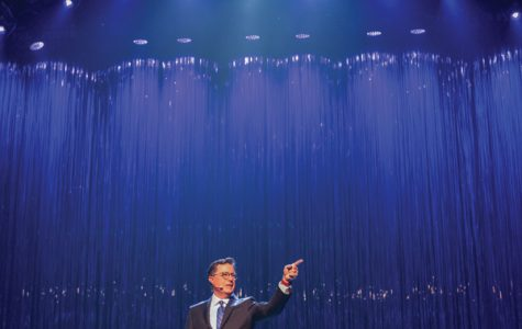 "Stephen Colbert (Communication '86) takes the stage for ""A Starry Night,"" the gala show capping off a weekend of reunion and celebration for the School of Communication. The show highlighted performances by current students and alumni who have found success from Hollywood to Broadway."