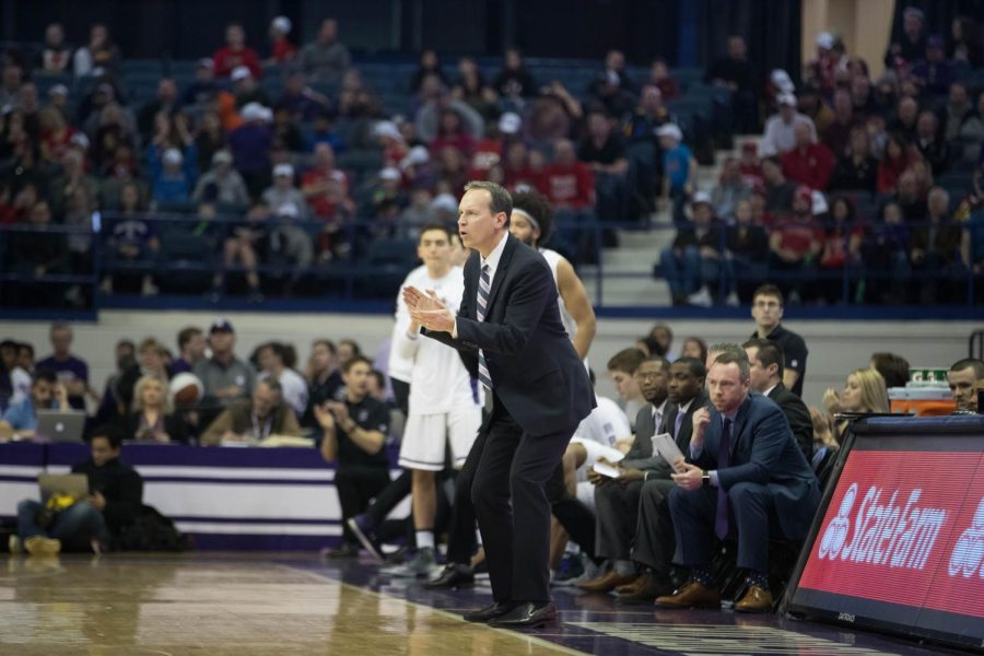 Chris+Collins+coaches+from+the+bench.+On+Monday%2C+he+added+a+new+coach+to+his+staff+to+help+lead+Northwestern+next+season.