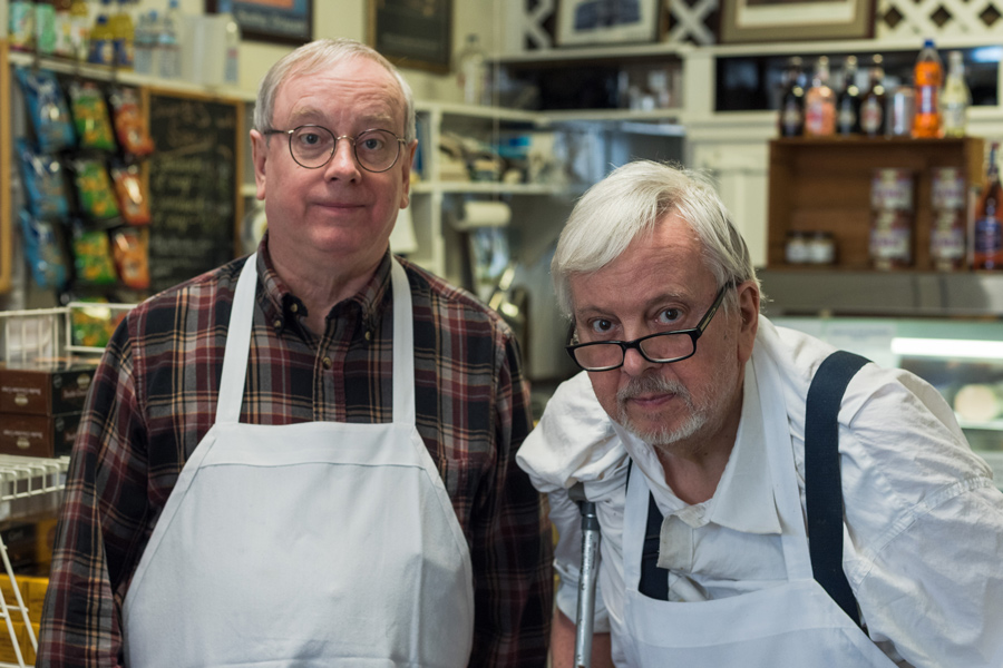 John (left) and Bob Pottinger (right), co-owners of Al's Deli at 914 Noyes St. Though the duo has added new items to the menu, like macarons and duck with green peppercorn sauce, John said they try to stay true to the deli's focus on quality.