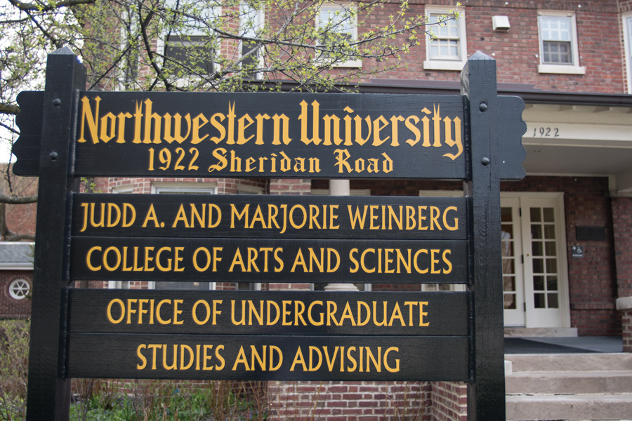 A sign outside Weinberg's Office of Undergraduate Studies and Advising, 1922 Sheridan Rd. SESP junior Ruthie Charendoff established non-credit ASL classes at NU this quarter.