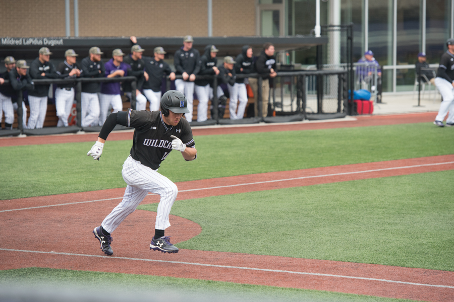 Ben Dickey takes off for first base. Dickey recorded three hits in game one of this weekend's series.