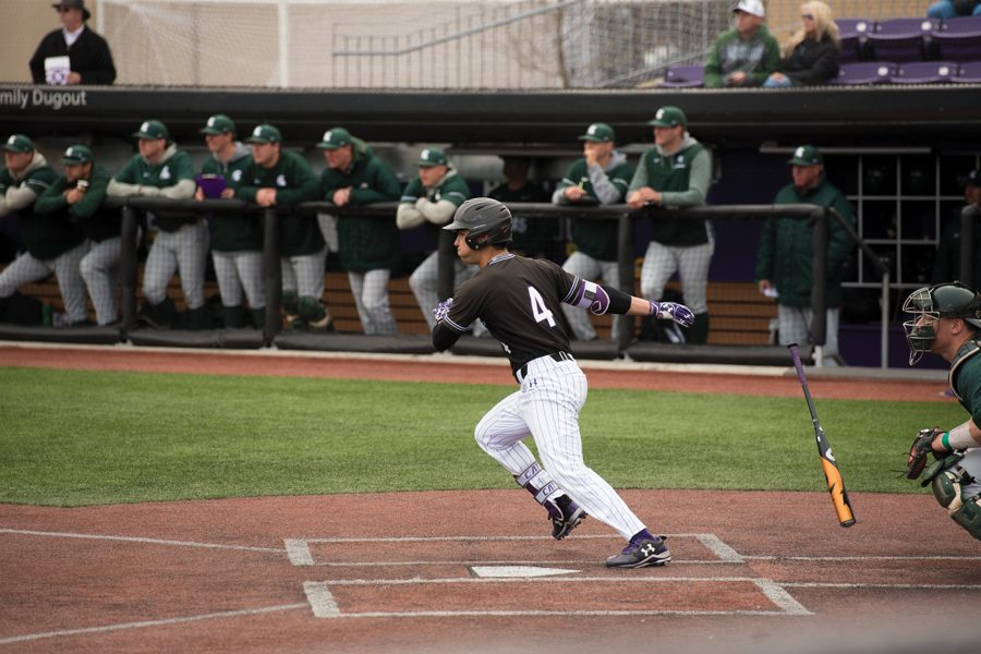 Alex Erro takes off for first base. The sophomore second baseman tallied seven hits in two games this week.