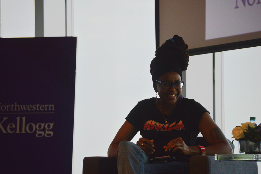 """Nnedi Okorafor, co-author of the """"Black Panther"""" comics, discusses Afrofuturism on Thursday at an event hosted by the Africa Business Club. Okorafor said the """"Black Panther"""" movie lacked portrayal of everyday Wakandans."""