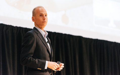 Dennis Muilenburg speaks during a Wednesday event. The Boeing CEO spoke about the future of space exploration at the 37th annual Patterson Transportation Lecture.