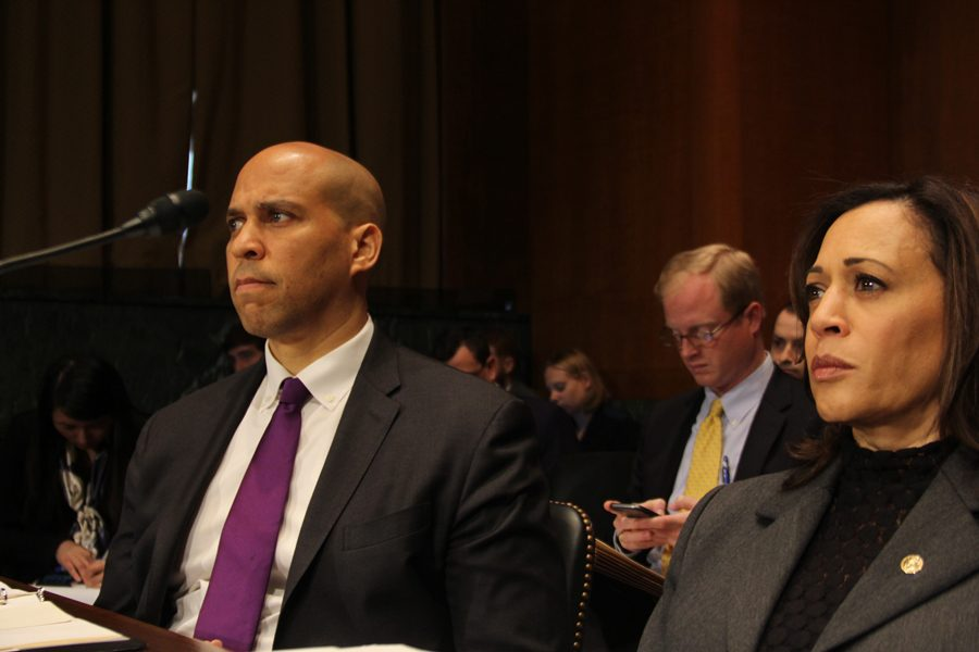 U.S.+Sens.+Cory+Booker+%28D-N.J.%29+and+Kamala+Harris+%28D-Calif.%29+listen+during+a+Senate+Judiciary+Committee+hearing+for+Michael+Brennan+%28School+of+Law+%E2%80%9989%29+in+February.+Brennan+was+confirmed+to+the+7th+Circuit+of+the+U.S.+Court+of+Appeals+last+week.