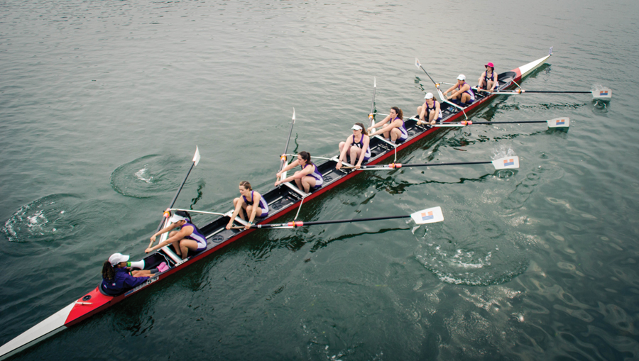 Northwestern women's rowing team competes in the 5,000-meter race at the Zhengzhou International University Rowing Regatta in April. The team took fourth place.