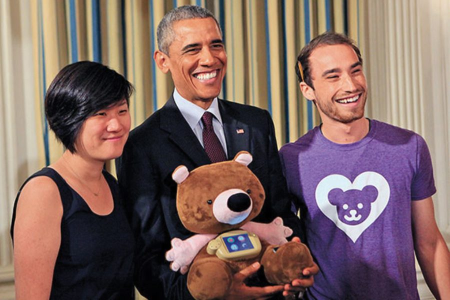 Hannah Chung (McCormick '12) (left) stands with former President Barack Obama and Aaron Horowitz (McCormick '12). Chung, who worked with Design for America when she was at NU, founded the company Sproutel along with Horowitz.