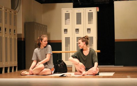 """Two actors rehearse onstage for Arts Alliance's spring show """"Dry Land."""" The play follows teenagers Amy and Ester who develop a friendship after Amy asks Ester to help her miscarry an unwanted pregnancy."""