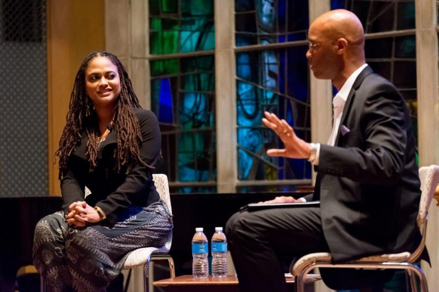 Medill Prof. Charles Whitaker speaks during a Q&A with film director Ava DuVernay in 2015. Whitaker was named interim dean of Medill on Wednesday.