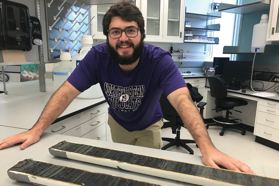 Weinberg junior Peter Puleo. In Earth and Planetary Sciences Prof. Yarrow Axford's lab, Puleo has worked with lake sediment cores, which are tubes of mud with visible bands of different colors and minerals.