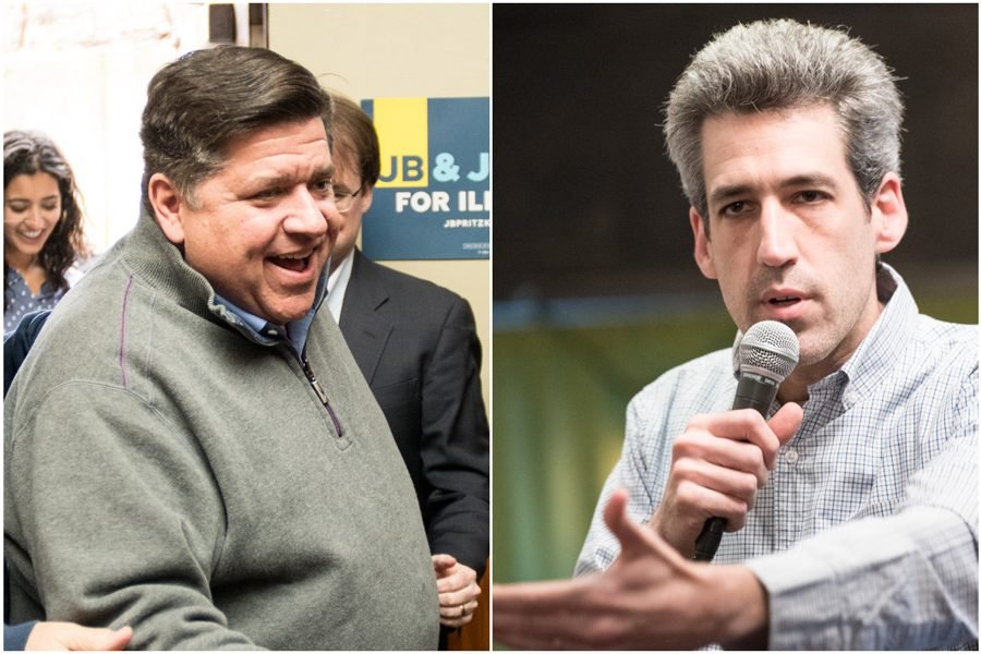 J.B.+Pritzker+and+state+Sen.+Daniel+Biss+%28D-Evanston%29.+Biss+announced+Monday+he+is+formally+endorsing+Pritzker+for+governor.+%0A