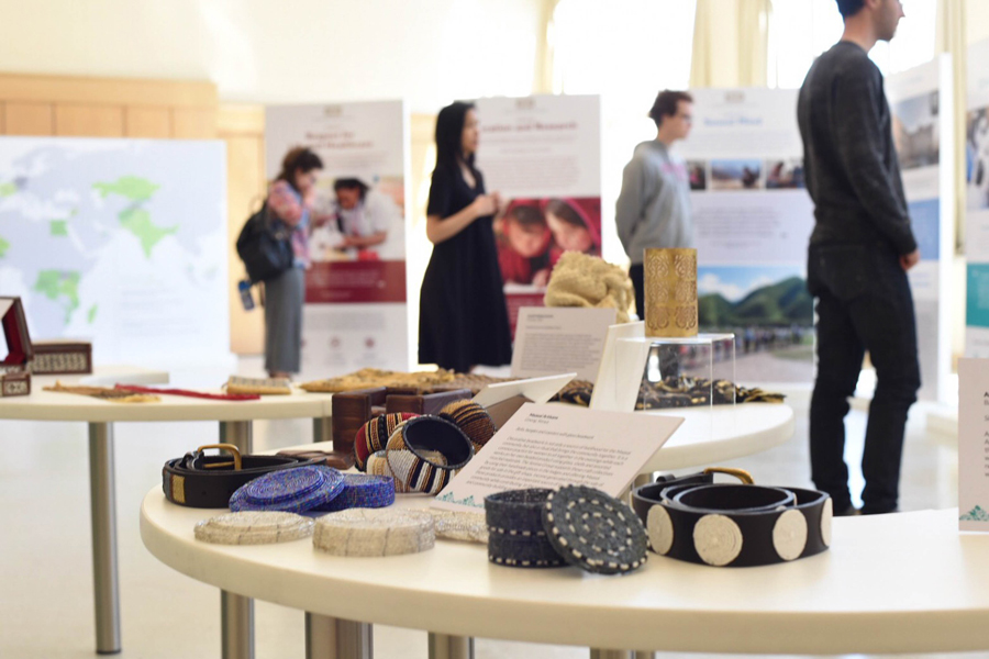 Cultural artifacts created by communities served by the Aga Khan Development Network. An exhibit featuring the humanitarian work of the aid organization was displayed in Parkes Hall on Monday.