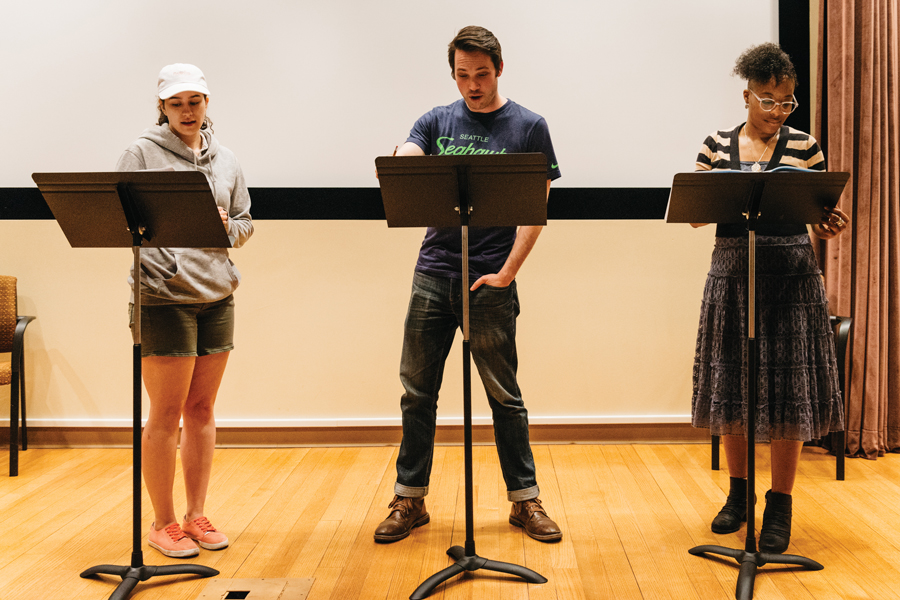 "Actors rehearse for the ""Festival of New Work."" The event will showcase original pieces written by MFA students in the Writing for the Screen and Stage program."