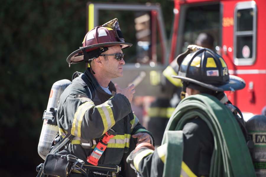 A firefighter participates in first responder training. Evanston Fire Department promoted three individuals Tuesday.