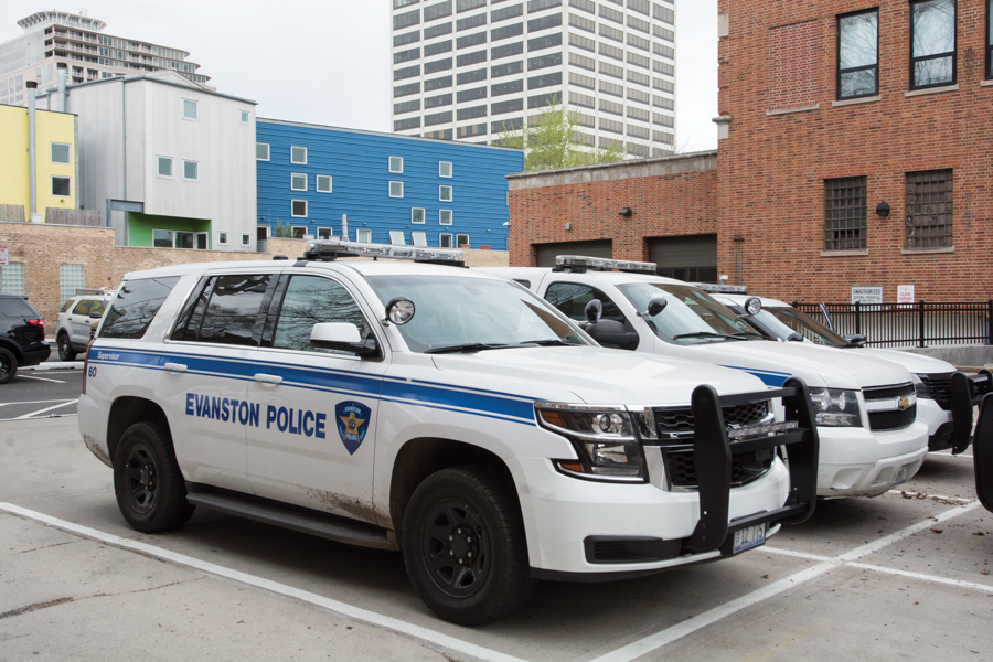 Evanston Police Department cars sit parked. Evanston's fleet operations unit was ranked 83rd in North America and includes police and utility vehicles.