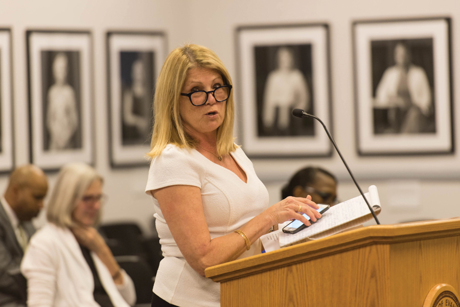 Mental Health Board chair Karin Ruetzel speaks at a Human Services Committee meeting. At Thursday's Mental Health Board meeting, a panel of middle and elementary school social workers discussed the inequality of mental health services in Evanston.