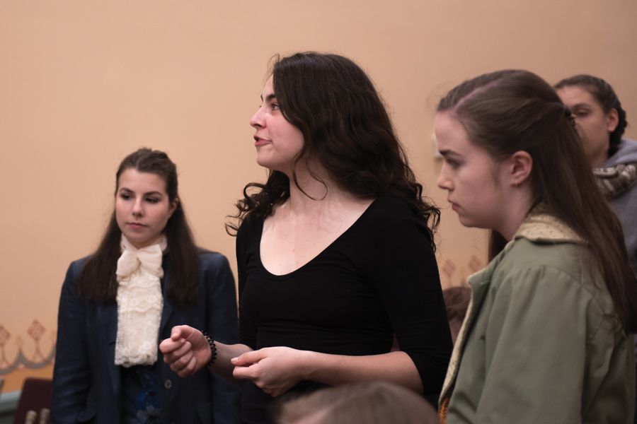 "An all-female cast rehearses for an upcoming production of ""1776."" The show is sponsored by One Book One Northwestern and opens Friday."