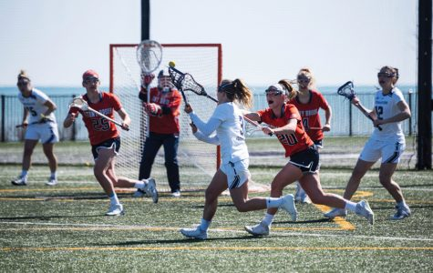 Shelby Fredericks makes a move. The senior attacker will lead the Cats as they prepare for a potential rematch with Maryland in this weekend's Big Ten Tournament.