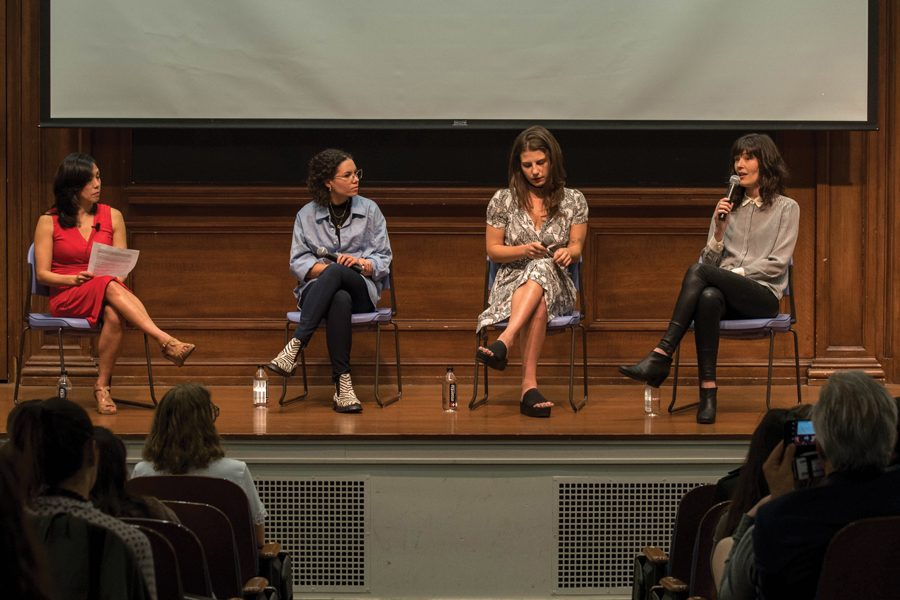 Journalists Erika Allen (second from left), Lauren Duca (second from right) and Megan Twohey (far right) talk at a CTSS event Thursday. The panelists addressed the role of social media in the #MeToo movement.