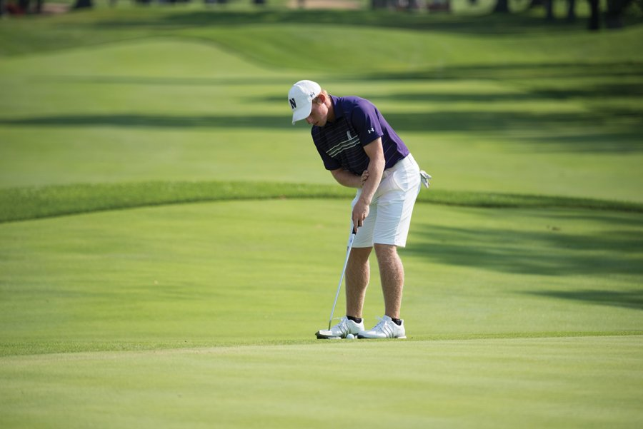 Sam Triplett hits a put. The senior will compete in his first NCAA Championships this weekend.