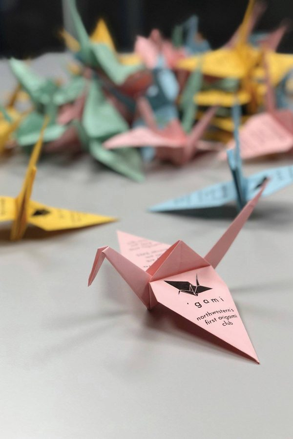 A+paper+crane+advertising+NU+%E2%80%99gami.+The+origami+club+was+recently+founded+at+Northwestern.