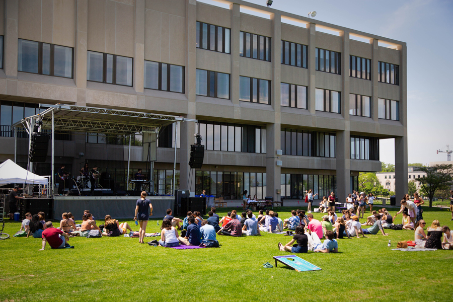Students watch Amen Dunes perform at Philfest. Philfest is an annual outdoor benefit concert held in honor of Phil Semmer, a former SEED member who died in 2000.