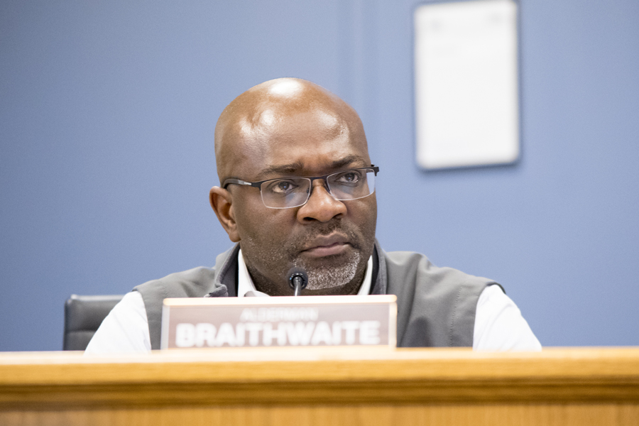 Ald. Peter Braithwaite (2nd) attends a city meeting. Braithwaite chairs the city's Alternatives to Arrest committee that recommended the council discuss an ordinance requiring the city to expunge law enforcement records for juveniles.
