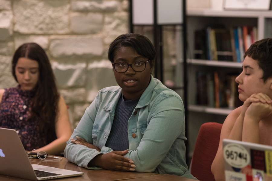Communication junior Danielle Dougé speaks at a press conference Wednesday. Students from Black Lives Matter NU, the Latinx Asian American Collective and Students Organizing for Labor Rights discussed the list of demands they released last week.