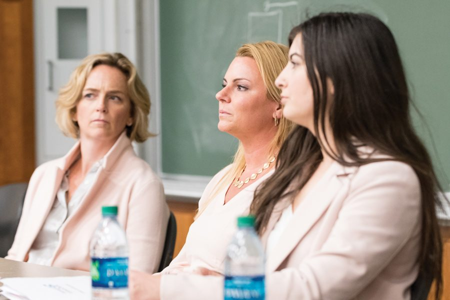 University of Chicago lecturer Mary Bunn (left) and Leena Zahra (right) speak Tuesday on a UNICEF NU panel, held during Syrian Refugee Week. Bunn and Zahra emphasized the need to raise awareness about the extent of the civil war and refugee crisis.